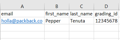 Roster Template example with 4 columns: email, first_name, last_name, and grading_id and 1 row with student data.