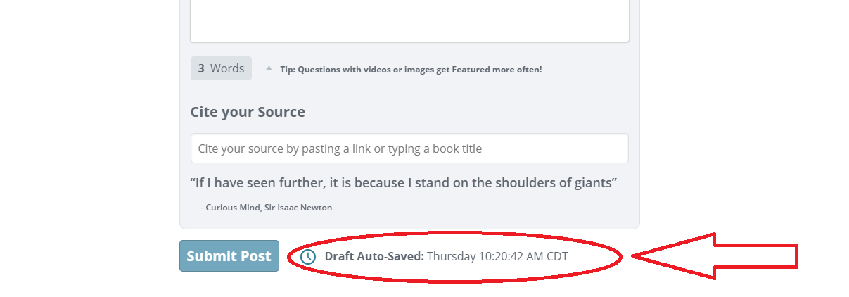 Post editor with the draft auto-saved date and time at the bottom circled in red.