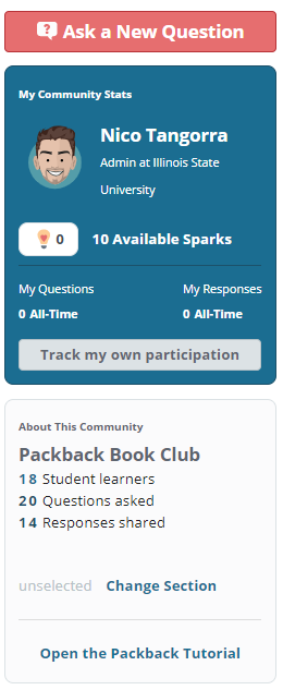 My Community Stats and About This Community data with the Open the Packback Tutorial button placed at the bottom.