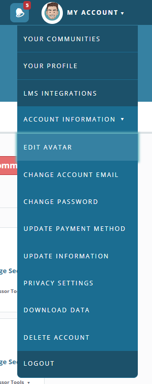 Drop-down menu under My Account - Account Information