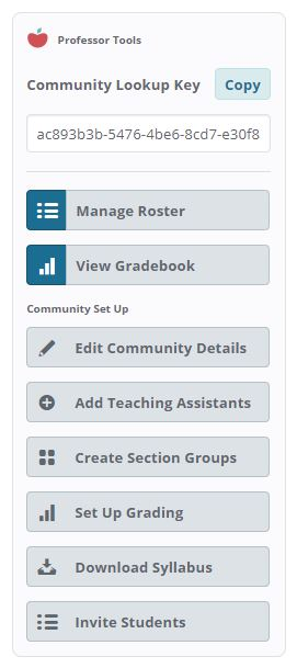 Professor Tools on the right hand-side on the Community Feed page that include Community Lookup Key, Manage roster, View Gradebook, and Community Setup options.