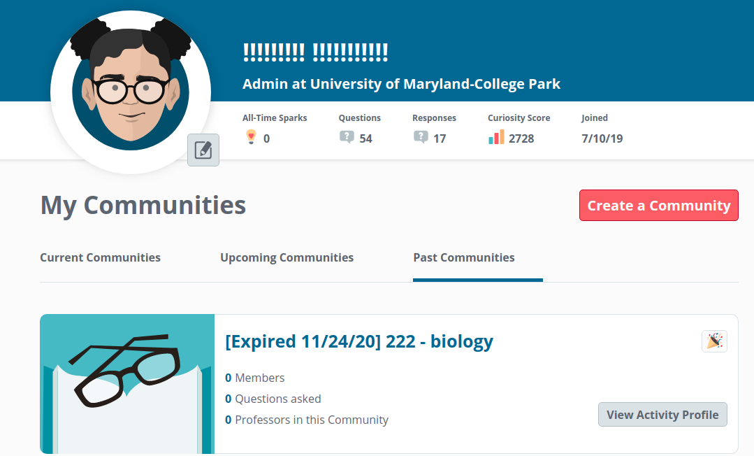 Expired community on the Past Communities tab.